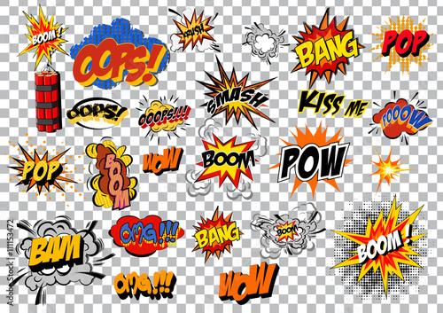 retro cartoon explosion pop art comic set. Vector Fototapeta