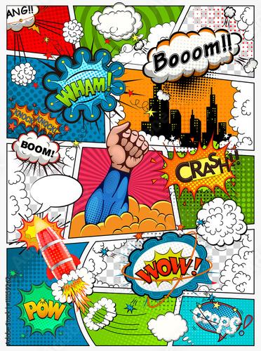Strona komiksu podzielona liniami z bąbelkami mowy, efektem rakiety, superbohatera i dźwięków. Retro tło makieta. Szablon komiksu. Ilustracji wektorowych