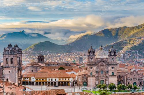 Canvas Print Morning sun rising at Plaza de armas, Cusco, City