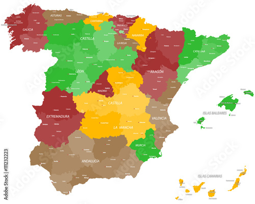 Carta da parati Large and detailed map of Spain
