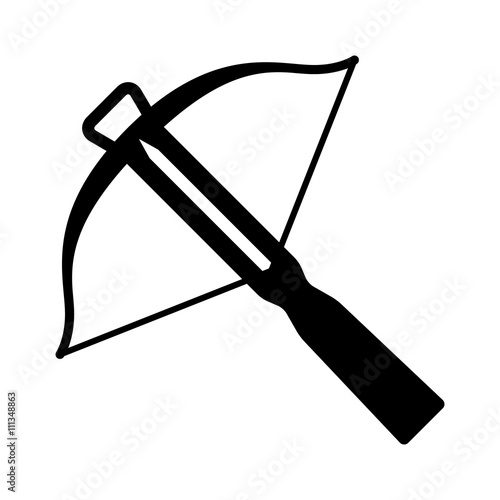 Fotografia Crossbow projectile weapon flat icon for games and websites