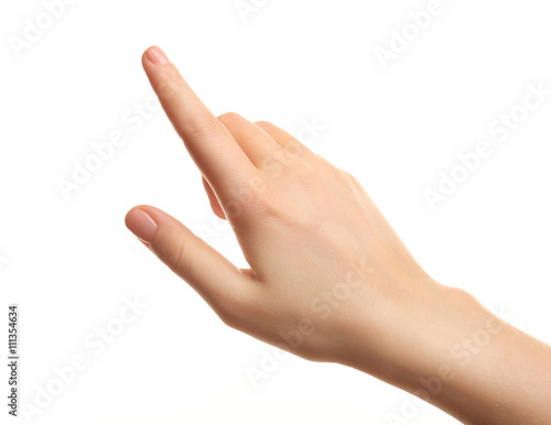Fotografiet Female hand on white background