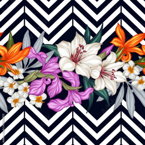 Fototapeta Geometryczny styl czarno biały i kwiaty