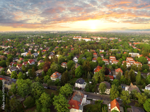Obraz na płótnie Aerial View of suburben Houses n sunset - germany