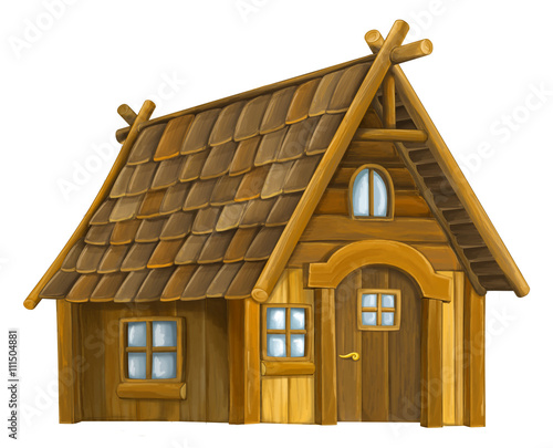Tablou Canvas Old cartoon wooden house - isolated - illustration for the children