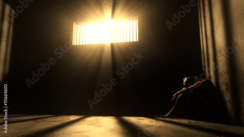 Fotografie, Tablou Prisoner in Bad Condition in Demolished Solitary Confinement und