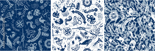 Stampa su Tela vintage nautical and marine elements, vector seamless pattern