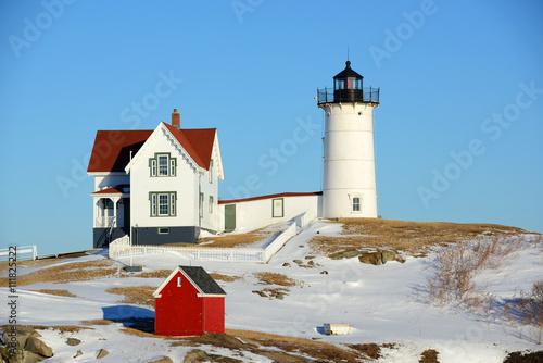 Cape Neddick Lighthouse (Nubble Lighthouse) at Old York Village in winter, Maine, USA