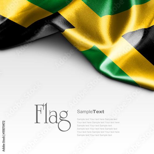 Photo Flag of Jamaica on white background. Sample text.