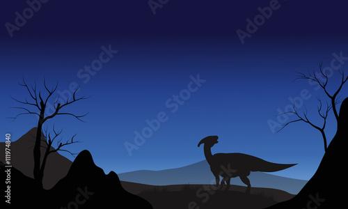 фотография Silhouette of one Parasaurolophus