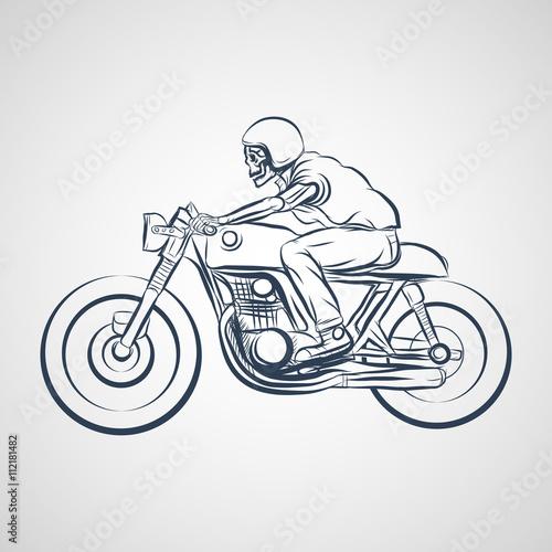 Valokuvatapetti skull ride a classic cafe racer motorcycle