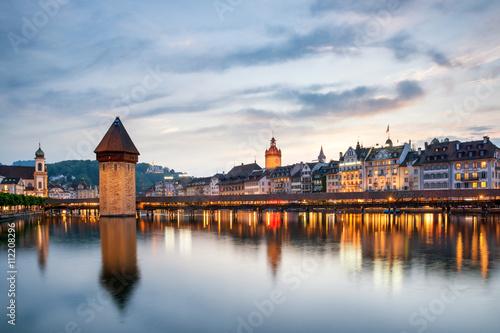 Stampa su Tela Lucerne. Image of Lucerne, Switzerland during twilight blue hour