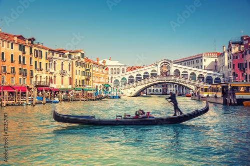 Canvas Print Gondola near Rialto Bridge in Venice, Italy