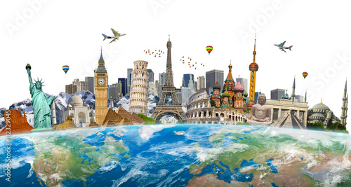 Canvas Print Famous landmarks of the world grouped together on planet Earth