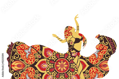Canvas Drawing of a silhouette of a dancing woman in wind-shaken pleated skirt with ethnic round  ornament  and bodice on a white background