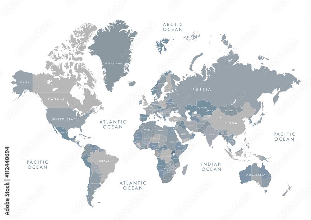 Bardzo szczegółowa mapa świata z etykietowaniem. Skala odcieni szarości ilustracji wektorowych. <span>plik: #112440694   autor: kodochigov</span>