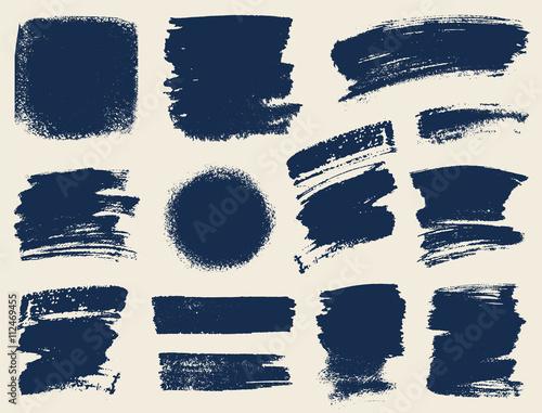 Obraz na plátne Vector set of hand drawn brush strokes and stains.