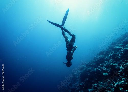 Canvas Print Freediver swim in the sea