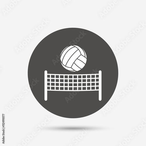 Fototapeta Síť na volejbal ikonu míčem. Beach sport symbolů