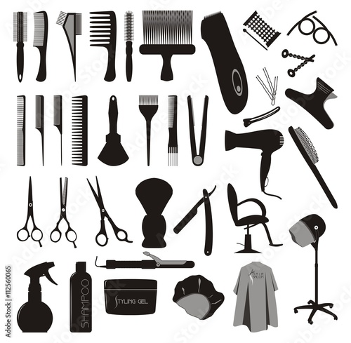 Hair styling silhouette vector set