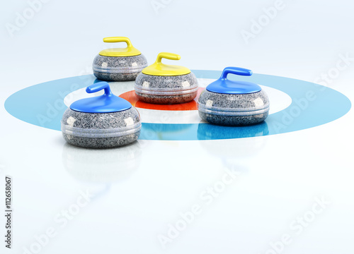 Cuadros en Lienzo Curling stones in the center of target isolated on white background