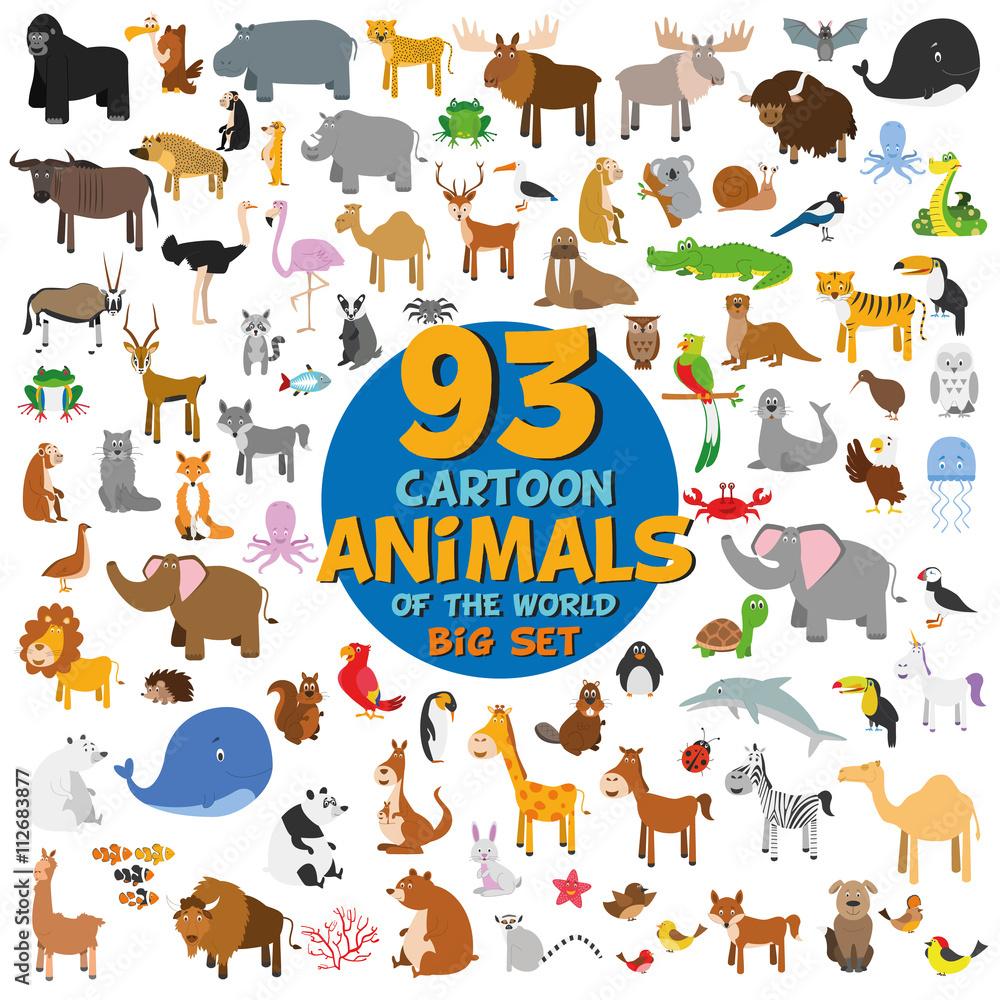 Big set of 93 cute cartoon animals of the world. Vector illustration isolated on white. Icon set.