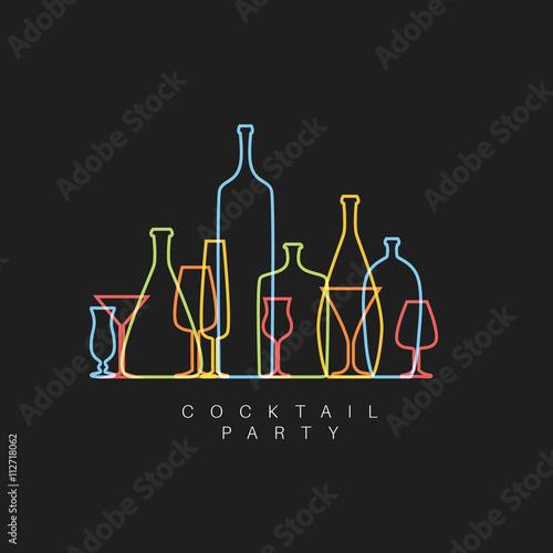 Obraz na plátně Vector Fresh Cocktail party invitation card with glasses and bottles