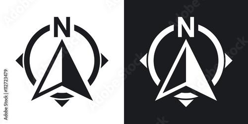 Fototapeta North direction compass icon, stock vector