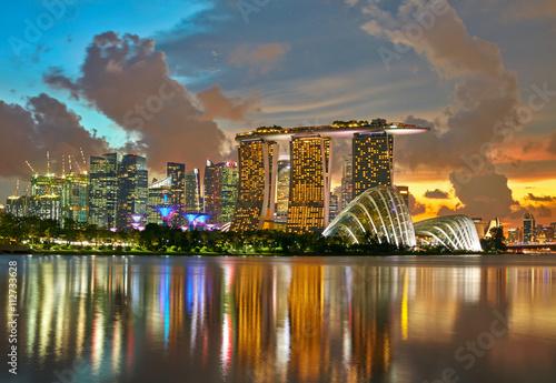 Skyline of Singapore city. Sunset background