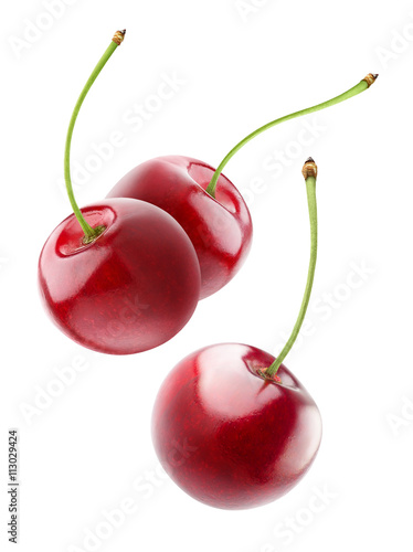 Fotografia Isolated cherries floating in the air