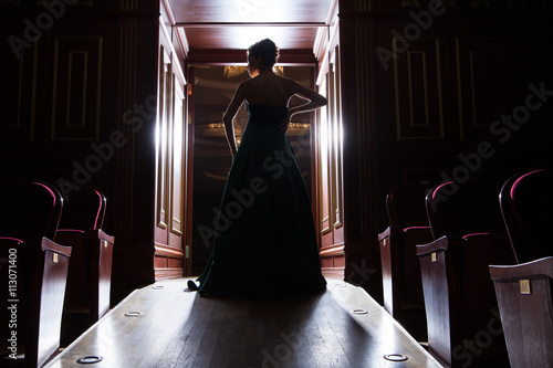 Fotografia back view of elegant woman's silhouette in doors