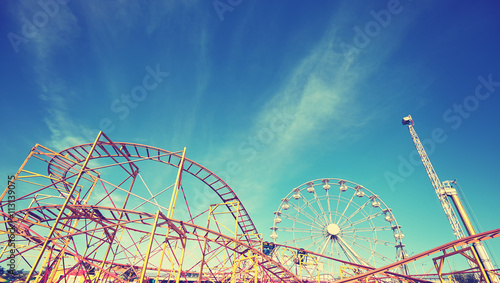 Stampa su Tela Vintage toned picture of an amusement park