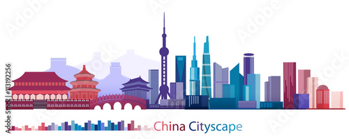Canvas Print Colorful Building and City of China, Abstract China Building of ancient and mode