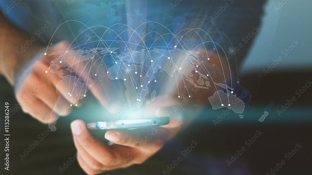 Mapa świata połączona, sieć społeczna, biznes globalizacji, soc <span>plik: #113286249 | autor: fgnopporn</span>