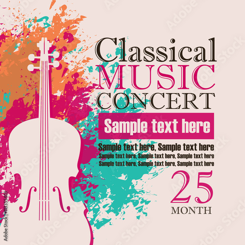 Photographie music concert poster for a concert of classical music with the image of a violin