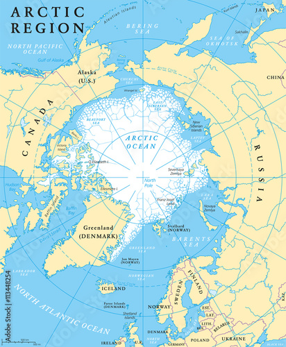 Fotografía Arctic region map with countries, capitals, national borders, rivers and lakes