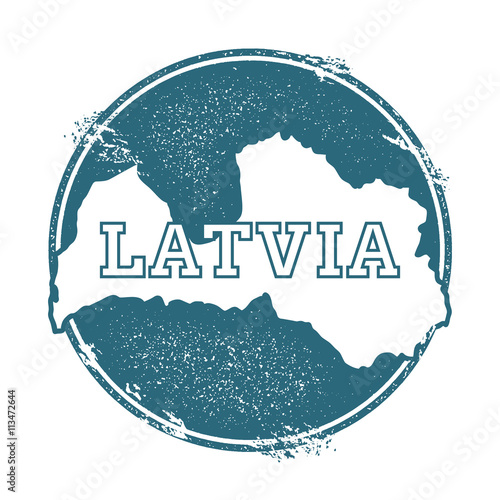 Photo Grunge rubber stamp with name and map of Latvia, vector illustration