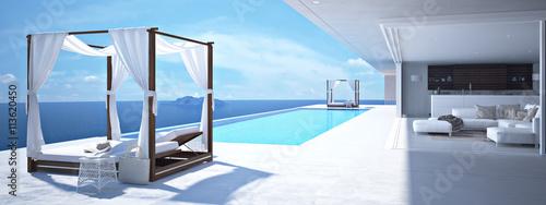 Photo luxury swimming pool in santorini. 3d rendering