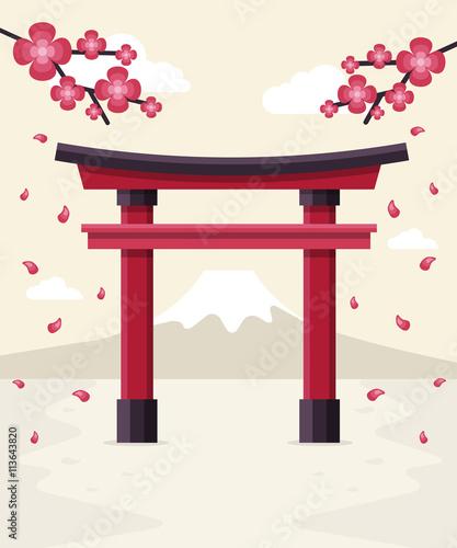Photo Japanese Tori Gate, Sakura Blossom and Mount Fuji at Background