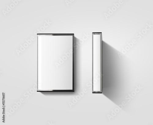 Fotografie, Obraz Blank cassette tape box design mockup, isolated, profil side view