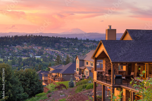 Wallpaper Mural Sunset View from Deck of Luxury Homes