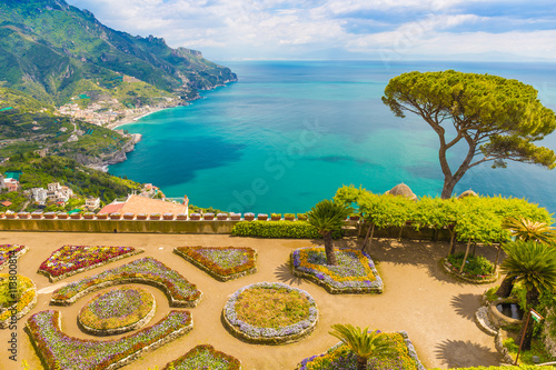 Photo Fantastic view from Villa Rufolo, Ravello town, Amalfi coast, Campania region, I