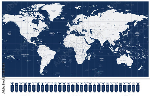 World map and Navigation Map Labels
