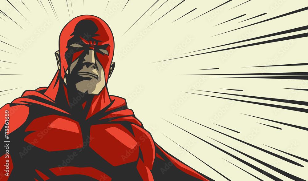 Komiksowy bohater w czerwonej masce <span>plik: #113861659 | autor: yuravector</span>