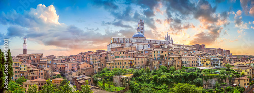 Canvas Print Beautiful view of Siena at sunset, Tuscany, Italy
