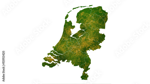 Canvas Print Netherlands country map detailed visualisation
