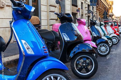 Canvas Print multi-colored scooters vespa