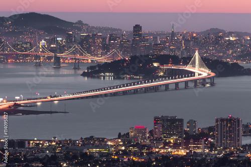 Leinwand Poster Dusk over San Francisco, as seen from Berkeley Hills