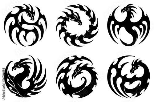 Fototapeta vector illustration, set of round tribal dragon tattoo designs, black and white