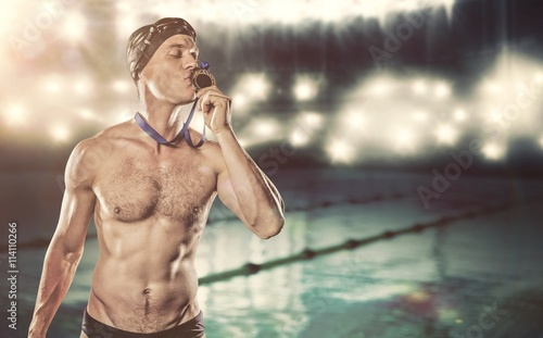 Canvas Print Composite image of swimmer kissing his gold medal